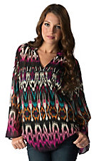 Rock 47 by Wrangler Women's Brown & Fuchsia Ikat Print Long Bell Sleeve Chiffon Top