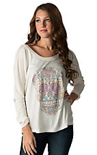 Rock 47 by Wrangler Women's Cream with Multicolor Rhinestud Skull Long Dolman Sleeve Tee