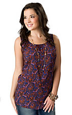 Rock 47™ by Wrangler® Women's Blue, Orange and Pink Paisley with Crochet Back Sleeveless Fashion Top