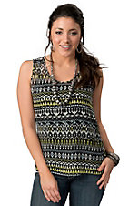 Rock 47™ by Wrangler® Women's Black with Multi Aztec Print and Zipper Sleeveless Fashion Tank Top