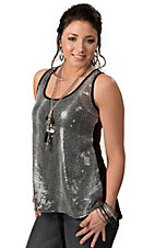 Rock 47™ by Wrangler® Women's Black with Snake Print Sequin Front Sleeveless Fashion Tank Top