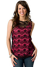 Rock 47™ by Wrangler® Women's Pink with Black Lace Overlay Sleeveless Fashion Top