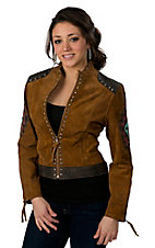 Cripple Creek® Women's Acorn Brown w/ Top Stitched & Studded Indian Motif Appliqué Genuine Leather Jacket