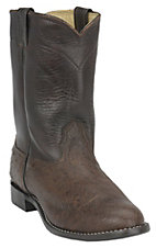 Larry Mahan Men's Kango Tobacco Brown Smooth Ostrich Exotic Roper Boot
