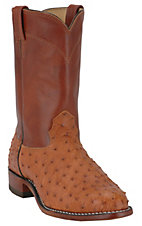 Larry Mahan Men's Peanut Brittle Brown Full Quill Ostrich Exotic Roper Boots