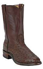 Larry Mahan Men's Kango Tobacco Brown Full Quill Ostrich Exotic Roper Boot