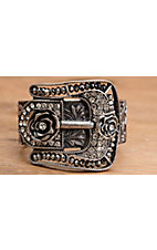 Wear N.E. Wear® Antique Silver Rose Buckle with Rhinestones and Beads Stretch Bracelet