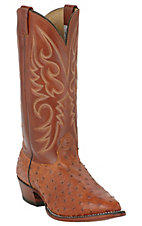 Larry Mahan Men's Peanut Brittle Brown Full Quill Ostrich Exotic Western Boots