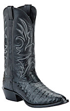 Larry Mahan Men's Black Genuine Caiman Crocodile Exotic Western Boots