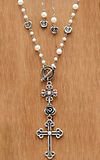 Wear N.E. Wear® Pearl Chain w/ Flowers & Cross Jewelry Set