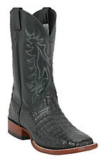 Larry Mahan® Men's Black Caiman Belly Broad Square Toe Exotic Western Boot