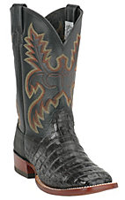 Larry Mahan Men's Black Pieced Caiman w/ Elephant Counter Square Toe Western Boot