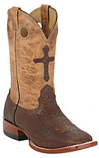 Larry Mahan® Men's Chocolate Bison w/ Cross on Sand Top Square Toe Western Boot