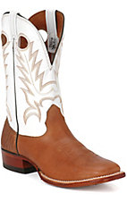 Larry Mahan Men's Brown Cowhide w/ White Tops Wide Square Toe Western Boots