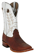 Larry Mahan® Men's Dark Brown Cowhide w/ White Tops Wide Square Toe Western Boots
