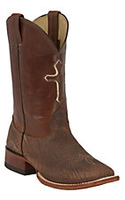 Larry Mahan® Men's Apache Brown Bison with Cross Inlay Double Welt Square Toe Boots