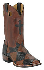Larry Mahan® Mens Black & Kango Full Quill Patchwork w/Cross Square Toe Exotic Boot