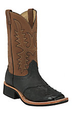 Larry Mahan® Mens Black Full Quill Ostrich w/Tan Top Exotic Square Toe Crepe Boot