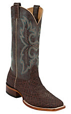 Larry Mahan Mens Bark Elephant w/ Brass Top Double Welt Square Toe Exotic Boot
