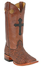Larry Mahan® Mens Bark Brown Elephant Mustang Top Double Welt Square Toe Exotic Boot