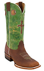 Larry Mahan® Men's Tuscany Brown w/ Lime Wild & Brown Cross Square Toe Western Boot