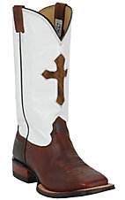 Larry Mahan® Men's Redwood Rowdy w/ Brown Cross on White Top Square Toe Western Boot