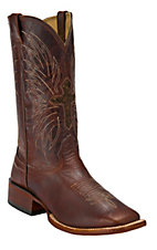 Larry Mahan® Men's Brown Mustang Winged Hair-On Cross Double Welt Square Toe Boots