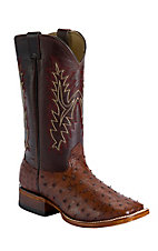 Larry Mahan® Men's Bark Brown Full Quill Ostrich Double Welt Square Toe Boots