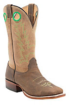 Larry Mahan® Men's Distressed Bison Rustico w/Lime Stitch Double Welt Square Toe Western Boots