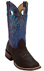 Larry Mahan Men's Chocolate Bison w/Purple Distressed Volcano Top Double Welt Square Toe Western Boots