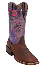 Larry Mahan® Mens Redwood Rowdy w/Cracked Purple Volcano Top Double Welt Square Toe Boots