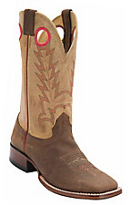 Larry Mahan Men's Sandlot Prosper Brown w/Distressed Rustico Tan Top Coral Stitch Double Welt Square Toe Western Boots