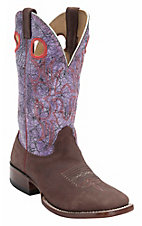Larry Mahan Mens Mequite Prosper Brown w/Cracked Purple Acid Wash Top Double Welt Square Toe Boots
