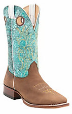 Larry Mahan Mens Tan Prosper Brown w/Cracked Light Blue Acid Wash Top Double Welt Square Toe Boots