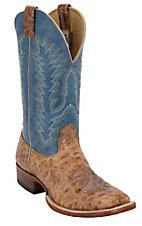 Larry Mahan® Mens Volcano Cognac w/ Blue Tequila Top Double Welt Square Toe Boot