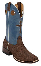 Larry Mahan® Men's Crinkle Chocolate Bullhide w/ Blue Top & Cross Inlay Double Welt Square Toe Boots