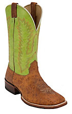 Larry Mahan® Men's Arizona Cognac Cowhide w/ Green Top Wide Square Toe Western Boots