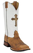 Larry Mahan® Men's Sand Brown Bison w/ White Top & Hair Cross Square Toe Western Boot