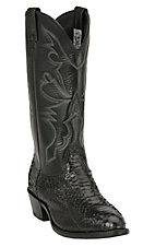 Larry Mahan Men's Black Python Snake Exotic Western Boots