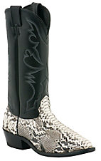 Larry Mahan Mens Natural Python Snake with Black Exotic Western Boots