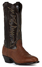 Larry Mahan Men's Aztec and Chocolate Brown U-Toe Shoulder Western Boot