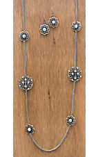 Wear N.E. Wear® Silver Flowers and Bling Chain Necklace Jewelry Set