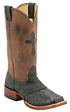 Larry Mahan® Ladies Black Full Quill Ostrich w/Brown Top Cross Exotic Square Toe Boot
