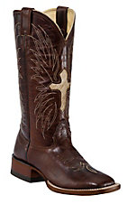 Larry Mahan Ladies Brown Mustang Winged Cross Hair-On Double Welt Square Toe Boot