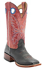 Larry Mahan Women's Black Smooth Ostrich w/Red Distressed Volcano Top Exotic Square Toe Western Boots