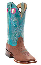 Larry Mahan Women's Peanut Smooth Ostrich w/Turquoise Distressed Volcano Top Exotic Square Toe Western Boots
