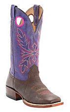 Larry Mahan Women's Kango Smooth Ostrich w/Purple Distressed Volcano Top Exotic Square Toe Western Boots