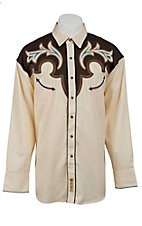 Larry Mahan® L/S Cream w/ Brown & Turquoise Retro Shirt LMCCM6001