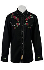 Larry Mahan® L/S Black w/ Rose Embroidery Retro Shirt LMCCM6002