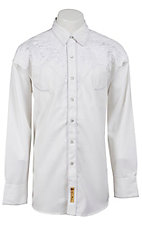 Larry Mahan® L/S White on White Floral Retro Shirt LMCCM6003